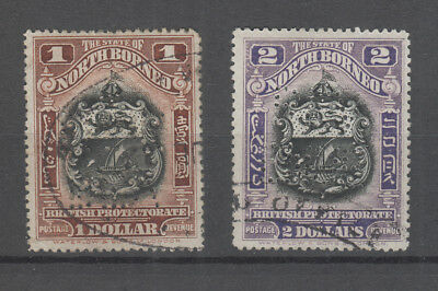 North Borneo 1911 $1 And $2  Used Perfinned