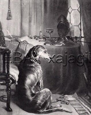 DOG Irish Wolfhound Waiting for Return of Master, Landseer Antique Print 1870s