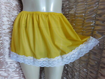 "Vtg Style Sunburst Yellow Nylon  Mini Underskirt  36"" - 44"" Max 50"""