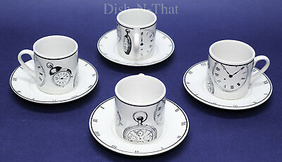 Signature Housewares Demitasse Cup and Saucer Set of Four B&W Classic Clocks