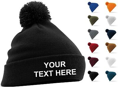 a58f9032a50 Personalised Embroidered Bobble Pom Pom Beanie Hat Pullover Wooley Hat  Unisex