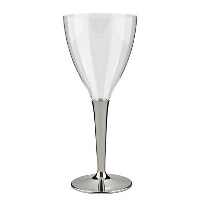 50 x 130ml Sabert Mozaik Silver Stem Clear Plastic Wine Cups Glasses Disposable