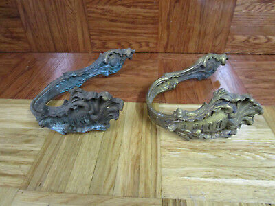 2 Vintage Large French Brass Ornate WALL RACK OR HOOKS