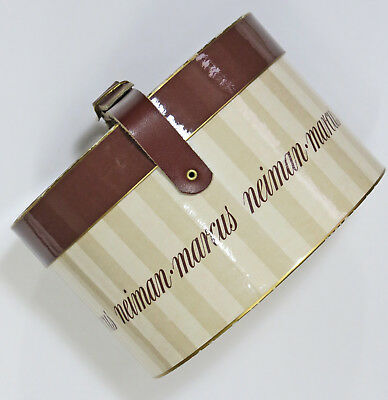 Vintage Neiman Marcus Miniature Hat Box, Gift Box, Belted Closure,Store Signed