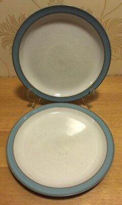 "Denby - Colonial Blue - PAIR 8 1/2"" 21.5 cm Salad Plates Very Good Condition"