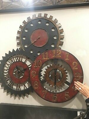 "New 35"" Antiqued Metal Wall Clock Collage Three Clocks Rustic Gear Style Vintage"