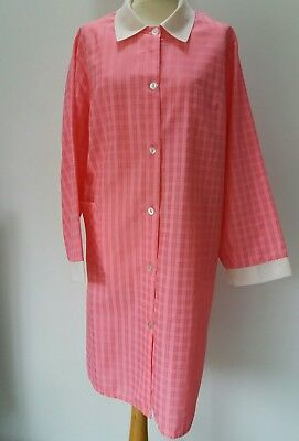 Vintage Hot Pink Dinner Lady Overall Top Apron Rustle Smock Nylon XL Dress Up