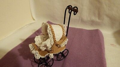 1.12th OOAK handcrafted victorian pram and baby with hand made knitted clothes C