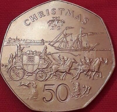 1980 IOM Christmas 50p Coin. Isle of Man Stagecoach