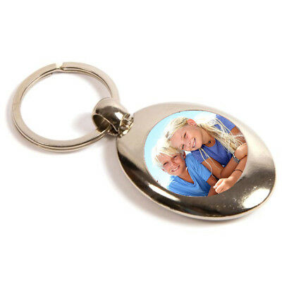 Round Metal Photo Personalised Keyring with Shopping Trolley Pound Coin - 25mm