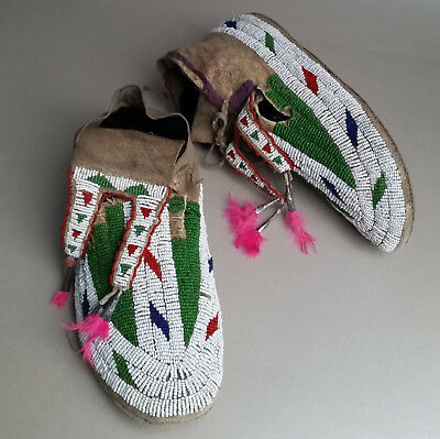 Rain-in-the-Face Antique Sioux (Hunkpapa Lakota) Beaded Moccasins, from ca. 1900