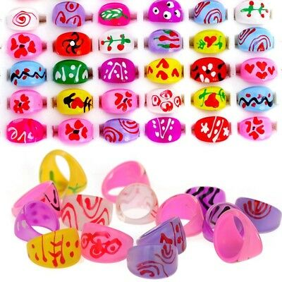 20pcs Wholesale Lots Mixed Kid Children's Lucite Resin Rings Jewelry Party Gift