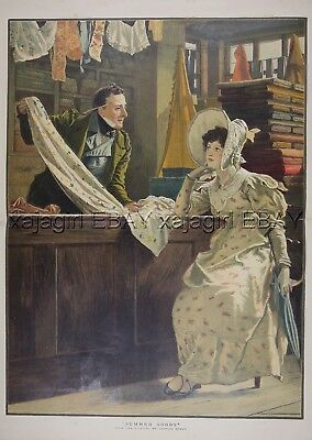 TAILOR or FABRIC Saleman Selling Goods to Woman SEWING, Huge 1880s Antique Print