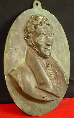 Large medallion oval of the XIX th : Baron Antoine David a Robécourt bronze