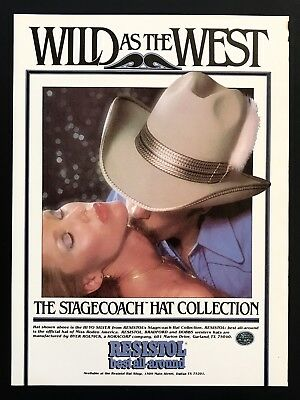 1979 Vintage Print Ad RESISTOL Stagecoach Hat Collection Cowboy Kissing Neck