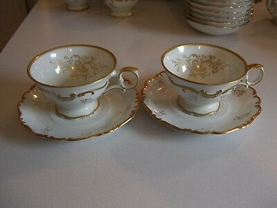 Schumann Bavaria China Sch110 Set Of 2 Footed Cups & Saucers (4 Pieces)