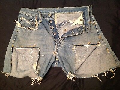 Vintage LEVIS 1954 - 1964 501XX Big E Offset Loop Hidden Rivets Cutoffs 30