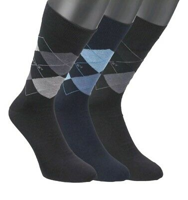 Mens Jockey 3 Pair Pack - Cotton Rich Argyle Patterned Casual Socks SIZE 9-11