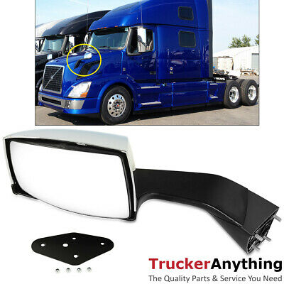 Hood Mirror Assy Volvo VNL 2004-2016 Left Driver Manual Chrome  Front Side View