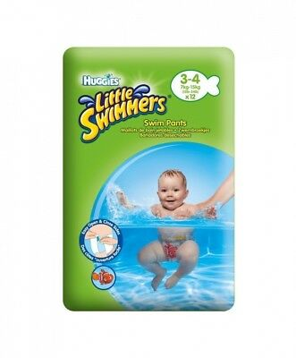 (4, white) - Huggies Little Swimmers Swim Pants Size 3-4 (7-15kg) - 12 pairs