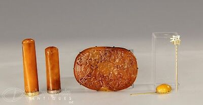 Group Of Various Chinese + Other Amber And Gold Objects Pins Pipes Hat Pins Etc