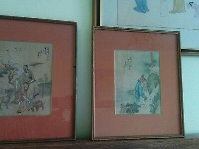 Pair of Chinese Antique watercolor paintings on silk 1895.