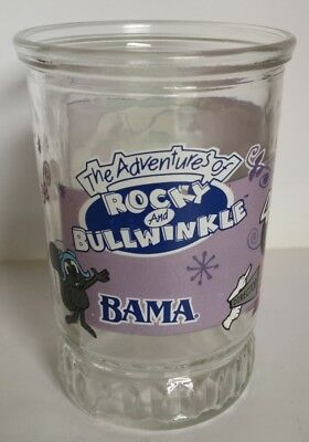 Vintage BAMA Jelly Jar Glass The Adventures of Rocky and Bullwinkle