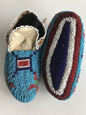 Lakota Baby Moccasins, Bottom Fully Beaded, c.1890, Excellent Condition