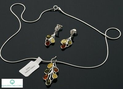 NATURAL BALTIC AMBER SILVER 925 SET EARRINGS & PENDANT + CHAIN Certified & BOX