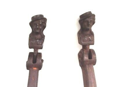 Pair of Vintage Woman's Face Cast Iron Window Shutter  Holders