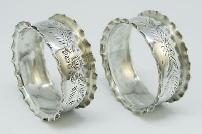 Pretty PAIR EDWARDIAN STERLING SILVER NAPKING RINGS 1903