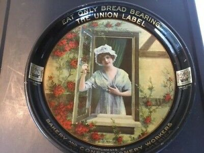 AntiqueTin advertising tray for the bakery and confectionery union