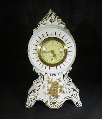 Antique German Dresden porcelain mantel clock Mercedes mecanism
