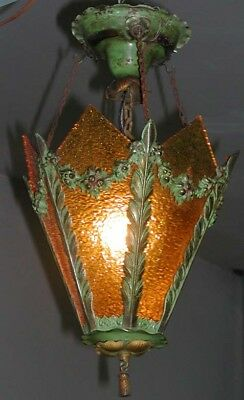 Antique Victorian Slag Glass Amber Hall Hanging Lamp Green Fixture Chandelier