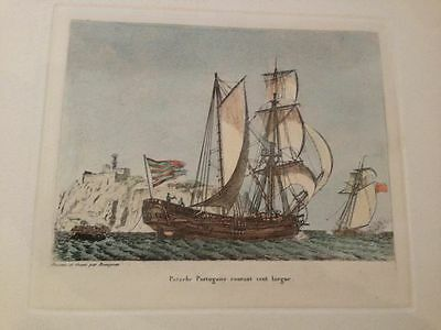 FrenchAntique Engraving Petite Marine Aquatint - By Baugean c1814 Christma- 152j