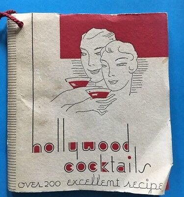 VTG 1933 MIXED DRINKS Hollywood Cocktails 200 Recipes Mini Book ART DECO
