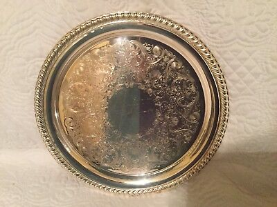 Beautiful William Rogers Silver Plate 870 Round Serving Tray Embossed And Roped