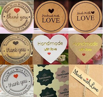 HandMade with Love Sticker Labels Seals Craft Wedding Favours Toppers Selection