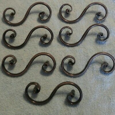 """Drawer Pulls Set Of 7 Whimsical Black Silver 3"""" Bore Spiral Curly Fancy Metal"""