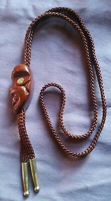 Vintage Hand Carved Wood Tiki Head Bolo Tie w/ Abalone Shell Eyes