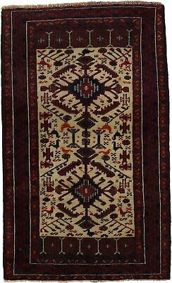 Ivory Semi Antique Pictorial 3X5 Balouch Hand Knotted Oriental Area Rug Carpet