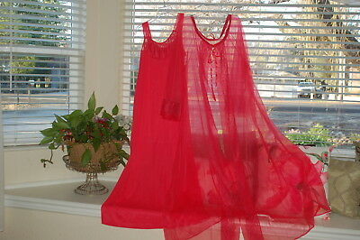 Vintage Pegnoir Nightgown Robe Set Chiffon Nylon Lace Red Sexy 60's Size Medium