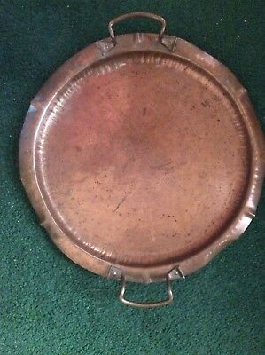 Arts & Crafts Craftsman Studios large copper serving tray with handles, 14 inch