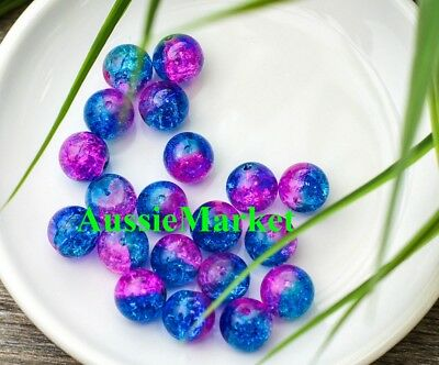 50 x Glass beads crackled crackle pink fuchsia blue round necklace bracelet 8mm