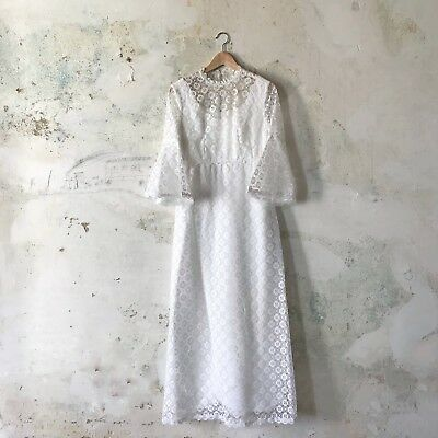 Beautiful 1970s Hippie Wedding Gown Dress Bell Sleeves Kate Moss Lana Del Rey