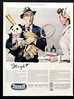 1947 Vintage Print Ad 40's REXALL DRUGS Baby Born Daughter Dad Sporting Goods