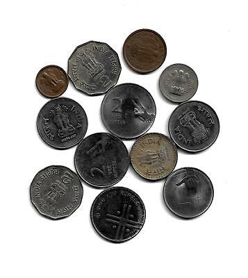 India: Mixed Lot of 12 Indian Coins from 1954-2009