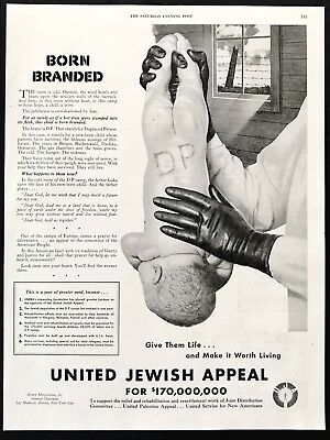 1947 Vintage Print Ad 40's UNITED JEWISH APPEAL Baby Born Branded Image
