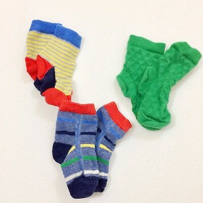 Hanna Andersson Boys Socks 3-Sets Green Blue Striped Cotton Size 1 0-12 Months