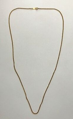 Vintage 14k Yellow Gold Blue Silk Necklace 585 Solid 2.4 Grams